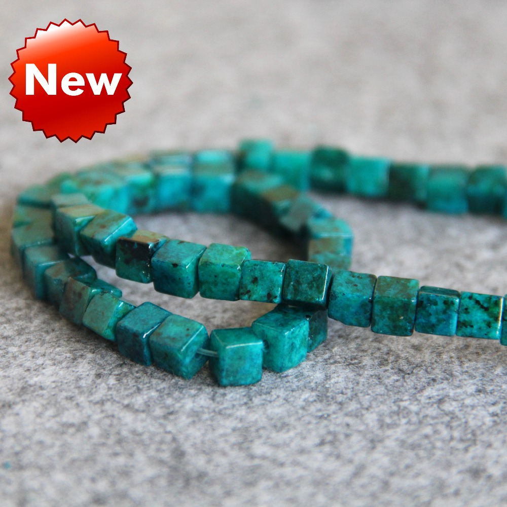 Necklace 4mm Blue Azurite Chrysocolla Semi Finished Stones Balls Beads Torus Women Girls Gifts 15inch grain Jewelry Making